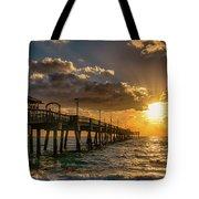 Florida Sunrise At Dania Beach Pier Tote Bag