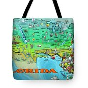 Florida Usa Cartoon Map Tote Bag