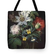Flower And A Delphinium In A Glass Vase Tote Bag