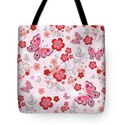 Flower And Butterfly Bj01 Tote Bag