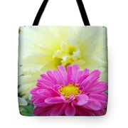 Flower Art Print White Pink Dahlia Floral Canvas Baslee Troutman Tote Bag