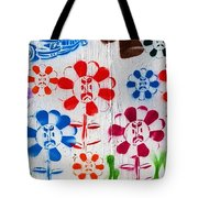 Flower Face Murial Tote Bag