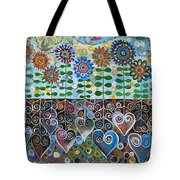 Flower Garden Blues Tote Bag