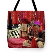 Flower Hmong Fabric Stall Tote Bag