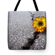 Flower In Asphalt Tote Bag
