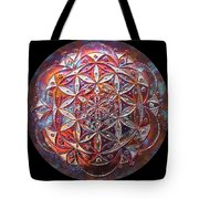 Flower Of Life Copper Lightmandala Tote Bag