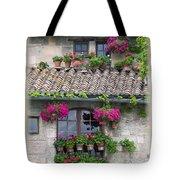 Flower Pots In Windows In Arles Tote Bag by Carson Ganci