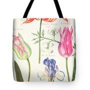 Flower Studies  Tulips And Blue Iris  Tote Bag