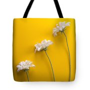 flower, white, three, online, Yellow Background, lateral, vertic Tote Bag