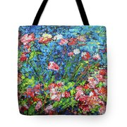 Flowering Shrub In Pink On Bright Blue 201676 Tote Bag