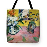 Flowers And A Japanese Print Tote Bag by Paul Gauguin