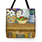 Flowers And Antique Chest Tote Bag