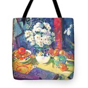 Flowers And Fruit In A Green Bowl Tote Bag