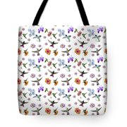 Flowers And Hummingbirds 1 Tote Bag by Rachel Lee Young