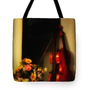 Flowers And Violin Tote Bag
