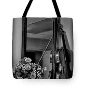 Flowers And Violin In Black And White Tote Bag