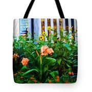 Flowers At The Fountain Of The Plaza Hotel Tote Bag