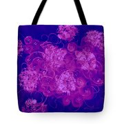 Flowers, Buttons And Ribbons -shades Of  Blue To Fuchsia Tote Bag