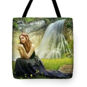 Flowers By The Falls Tote Bag