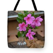Flowers By The Tracks Tote Bag