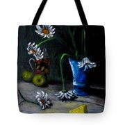Flowers Camomiles Still Life Acrylic Painting Tote Bag