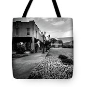 Flowers Flags And The Church In Black And White Tote Bag