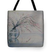 Flowers Glass Water And Mirror Tote Bag