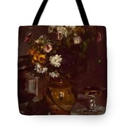 Flowers In A Vase And A Glass Of Champagne Tote Bag