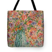 Flowers In Crystal Vase. Tote Bag