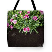 Flowers In Grass Growing From Natural Clean Soil Tote Bag