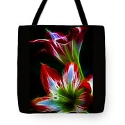 Flowers In Green And Red Tote Bag