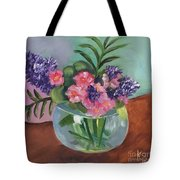 Flowers In Round Glass Vase Tote Bag