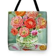 Flowers In The Glass Vase Tote Bag