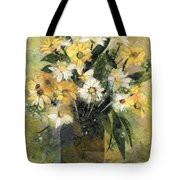 Flowers In White And Yellow Tote Bag