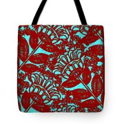 Flowers Indigo Red And Blue Tote Bag