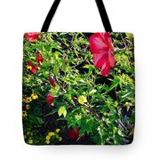 Flowers Of Bethany Beach - Hibiscus And Black-eyed Susams Tote Bag