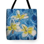 Flowers On Water Ripples Tote Bag