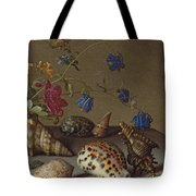 Flowers, Shells And Insects On A Stone Ledge Tote Bag