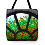 Flowers Through Basement Window At Monticello Tote Bag