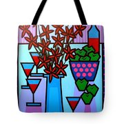 Flowers Wine Apples Tote Bag