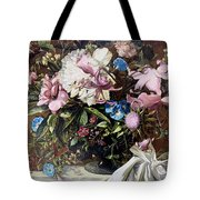 Flowers With A Bird Tote Bag