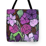 Flowers With Basket Weave Tote Bag