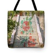 Flowery Stairs Tote Bag