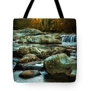 Flowing River On Greenbrier Cove Road Smoky Mountains National P Tote Bag