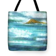 Flowing River With Briliant Sun Reflections And Stone, Closeup Painting Detail. Tote Bag