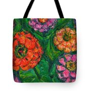 Flowing Zinnias Tote Bag