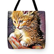 Fluffy Orange Kitten Tote Bag