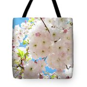 Fluffy White Pink Sunlit Tree Blossom Art Print Canvas Baslee Troutman Tote Bag