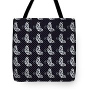 Fluttering Butterflies - Navy And White Tote Bag