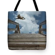 Fly By At The Beach - Brown Pelican And Rustic Stairs Tote Bag